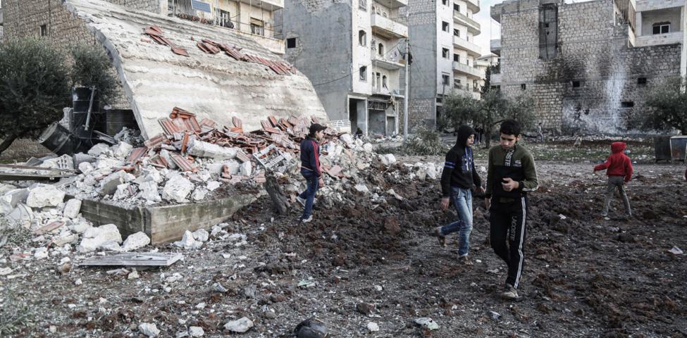 محافظة ادلب المدمرة بسبب الصراع